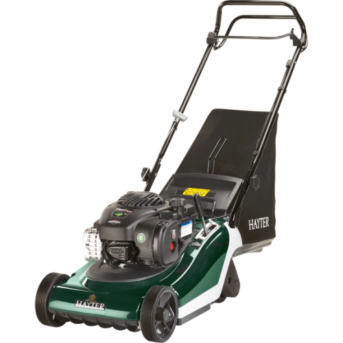 The Hayter Spirit 41 petrol roller lawnmower